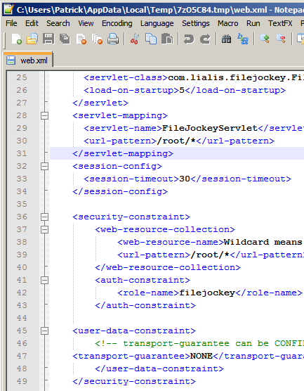 Editing the web.xml file