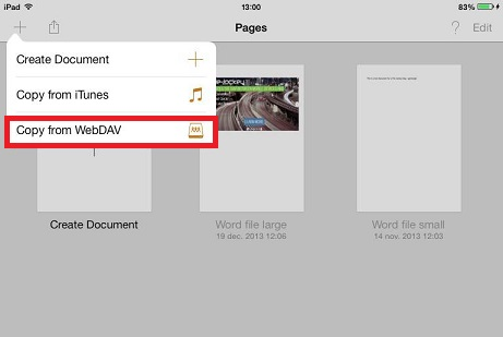 In Pages ad the plus sign and choose Copy from WebDAV
