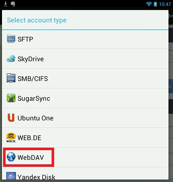 Choose WebDAV as account type