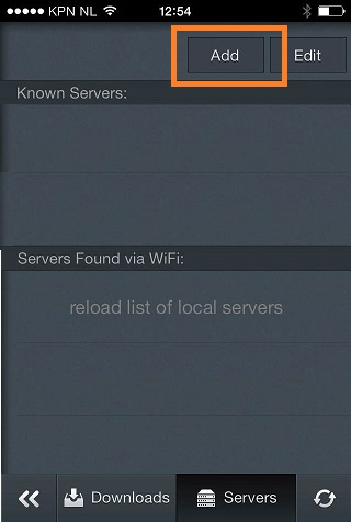Click the Add button to add a server
