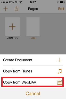 Select Copy from WebDAV