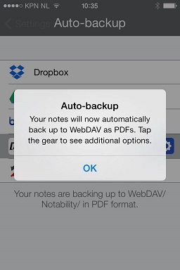 Auto Backup message press OK