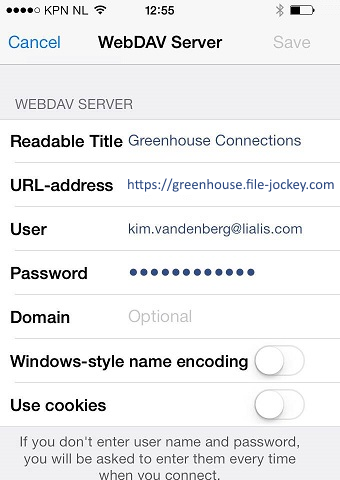 Select WebDAV Server and fill in the IBM Greenhouse URL