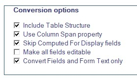 SharePoint Forms Designer conversion options