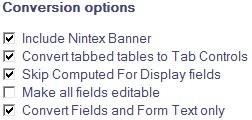 Nintex Conversion Options