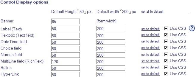 Nintex Control Display options