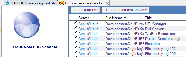Domino Application - Lialis Lotus Notes database scanner export to xls
